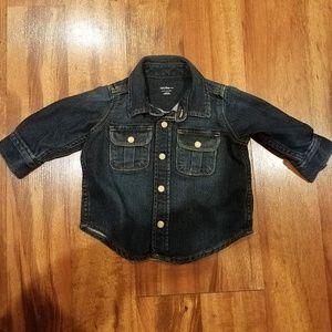 Gap denim button down shirt size 3/6 months